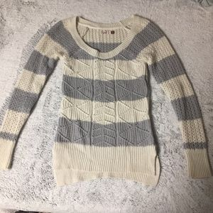 So Brand Gray and Cream Stripped Sweater